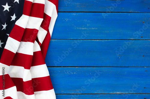 American flag on rustic royal blue wood background Fotobehang
