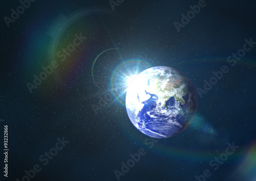 Earth with the rays.