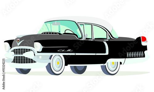 Canvas-taulu Caricatura Cadillac Fleetwood Sedán 1955 negro vista frontal y lateral