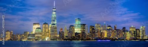 Lower Manhattan skyline panorama at dusk, New York #93356472