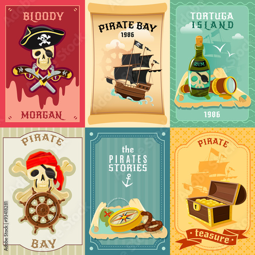 Canvas Print Pirate flat icons composition poster