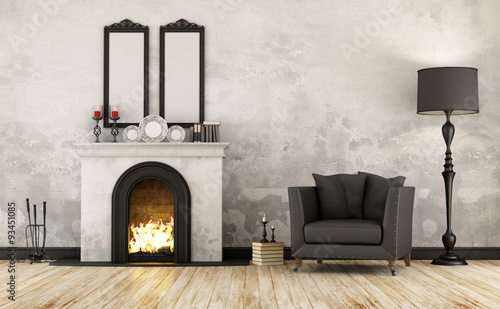 Foto Retro room with fireplace