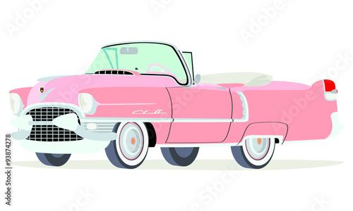 Obraz na plátně Caricatura Cadillac convertible abierto 1955 rosado vista frontal y lateral