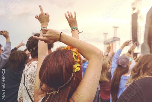 Obraz na płótnie Outdoor music festival crowd