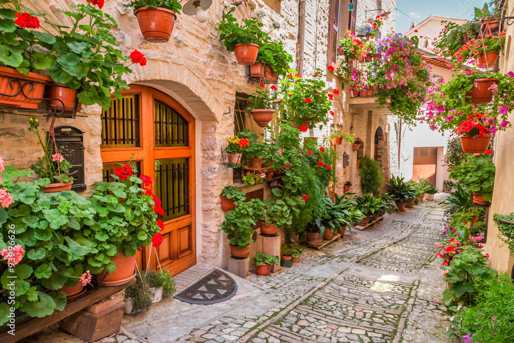 Street in small town in Italy in summer, Umbria
