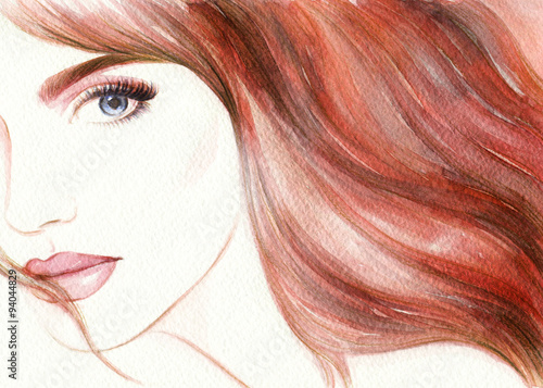 Beautiful face. woman portrait. abstract watercolor .fashion background