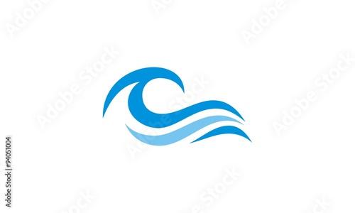 Obraz na plátně ocean wave abstract water logo