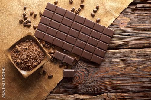 Tableau sur Toile Chocolat noir, cacao et de café grains