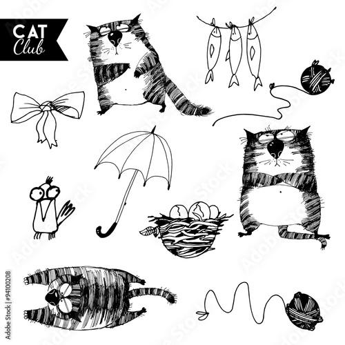 funny cat  character vector cat club set #94100208