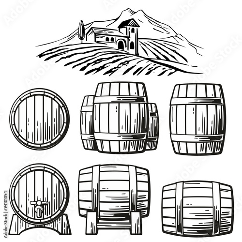 Stampa su Tela Wooden barrel set and rural landscape with villa, vineyard fields, hills, mountains