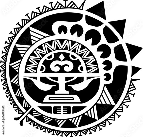 Canvas Print Tribal sun mask vector illustration