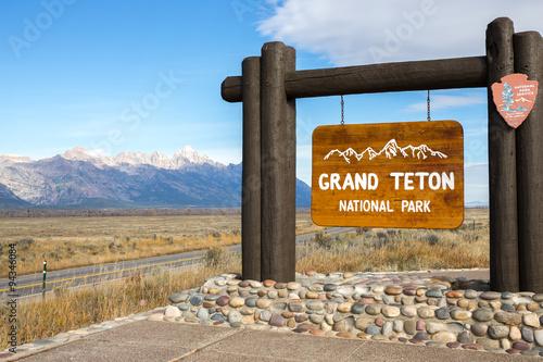 Grand Teton national park sign Fototapet