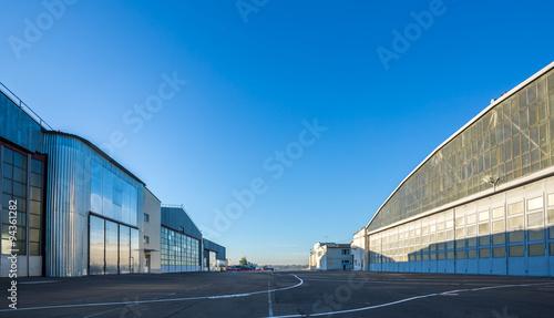 Obraz na płótnie The area between aircraft hangars