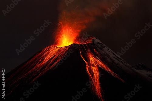 Canvas Print volcano lava volcan erupting fire ecuador small volcanology dark landscape mount