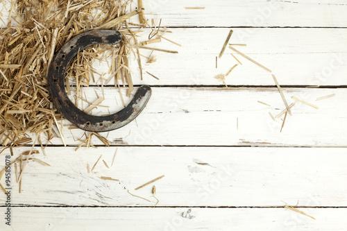 Horseshoe and hay on rustic background Fototapeta