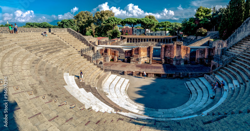 Canvas Print Remains of large theatre in Pompeii Italy. Pompeii was destroyed