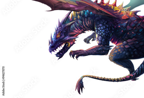 Obraz na plátně Illustration: The Dragon - Put it in a White Background in case you need it