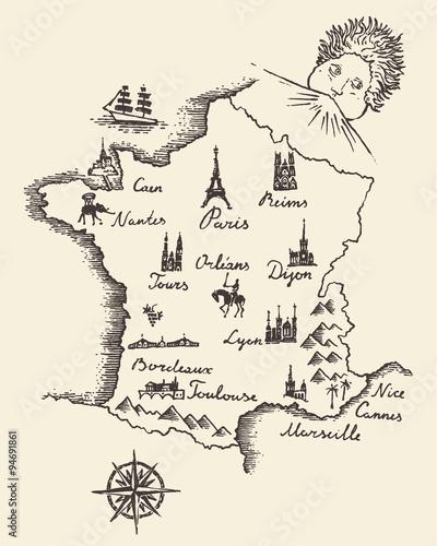 Map of France vintage engraved illustration sketch Fototapeta