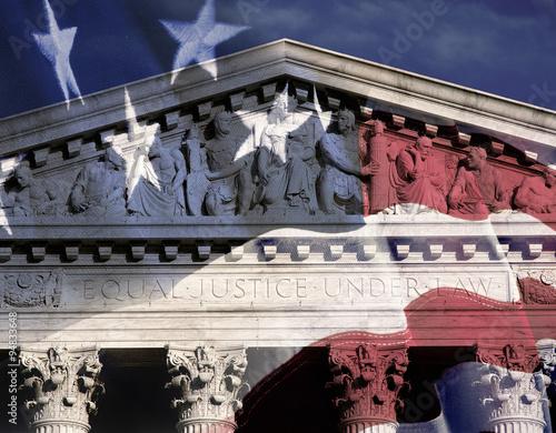Murais de parede Digital composite: Supreme Court Building and American flag
