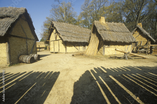 Photo Exterior of buildings in historic Jamestown, Virginia, site of the first English