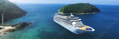 Fotografering 3d Cruise Ship Vacation Holiday Summer Illustration Concept