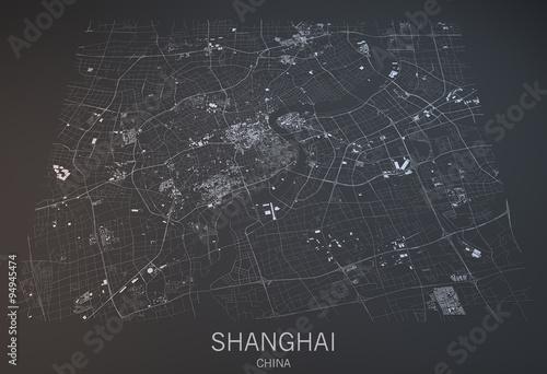 Obraz na plátně Cartina Shanghai, vista satellitare, sezione 3d, Cina