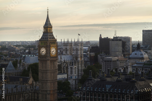 LONDON - 2015 AUGUST 3 : Panoramic view of Big Ben and beautiful tourism city London from London Eye. #94993248