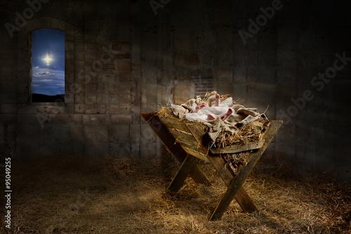 Leinwand Poster Jesus ruht auf einem Manger