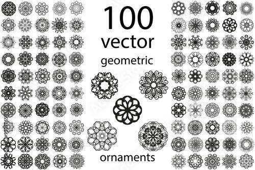 Canvas Print 100 Set abstract geometric mandala round ornament