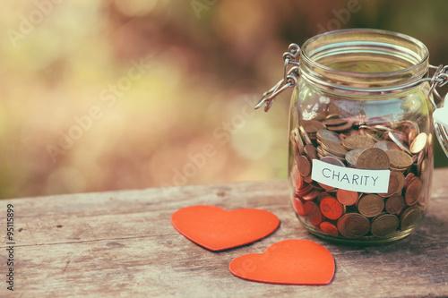 Billede på lærred Charity money jar