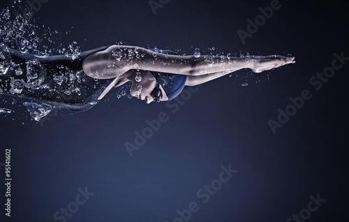 Fotografia Female swimmer. Concept image