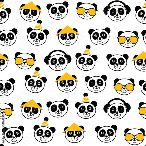 Fototapeta Śmieszne kreskówka wzór z panda