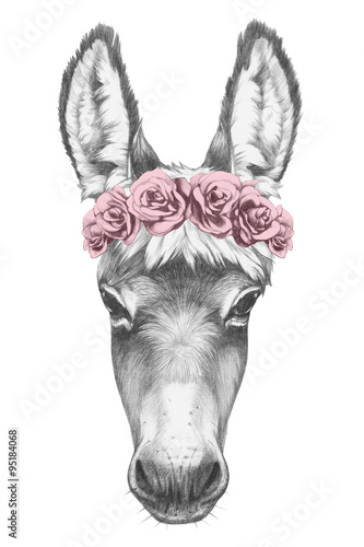 Valokuvatapetti Portrait of Donkey with floral head wreath