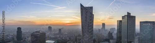 Foggy sundown over Warsaw