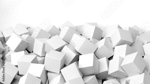 Fotografia 3D white cubes pile, isolated on white with copy-space