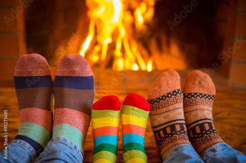Canvas Print Family near fireplace