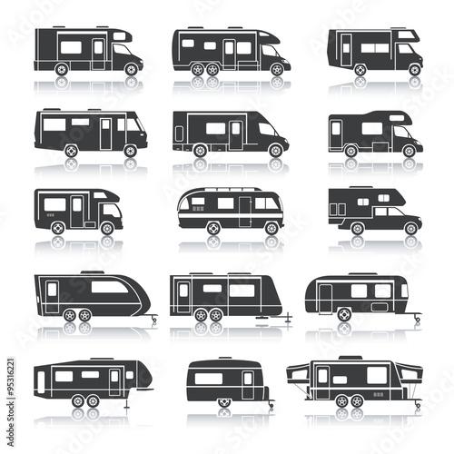 Recreational Vehicle Black Icons Fototapet
