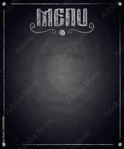 Stampa su Tela Menu of restaurant on black chalkboard background