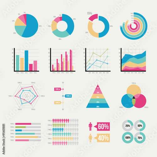 Valokuva Graph elements of business with flat design
