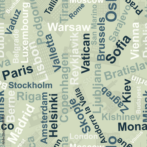 Backgrounds of the names of the capitals of Europe.Vector #95603002