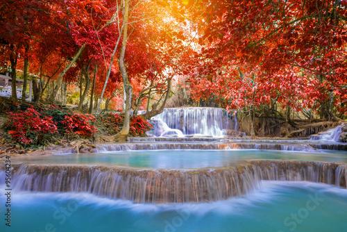 Waterfall in rain forest ( Tat Kuang Si Waterfalls at Luang prab