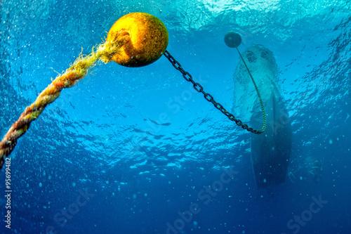 boat ship from underwater blue ocean