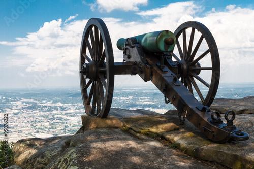 Vászonkép Civil War era cannon atop Lookout Mountain, overlooks Chattanoog