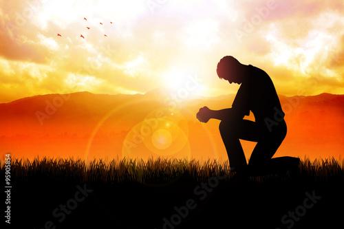 Morning Pray At Beautiful Landscape