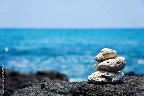 White coral Zen rocks on Hawaiian coast