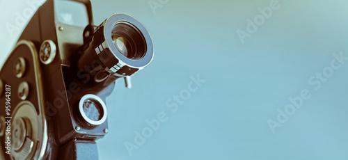 Vintage old movie camera with copy space