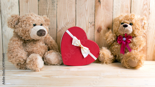 Couple toy bears with love valentine concept #95993668