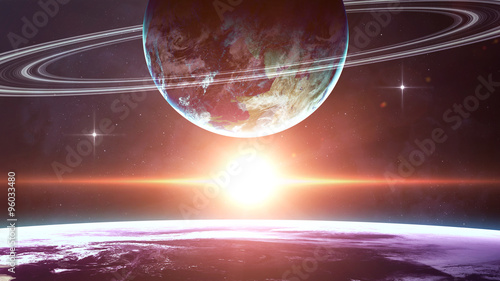 Beautiful fantastic planets in space. Elements of this image furnished by NASA #96033480