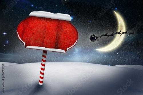 Obraz na plátně Santa sign in north pole