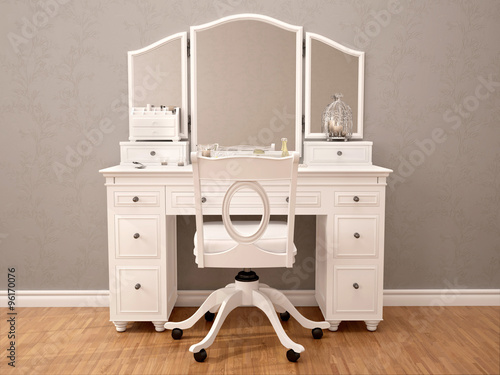 3d illustration of white toilety table with mirror Fototapete